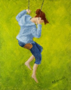 Girl On Swing | 10x8 acrylic on canvas panel [artists collection]