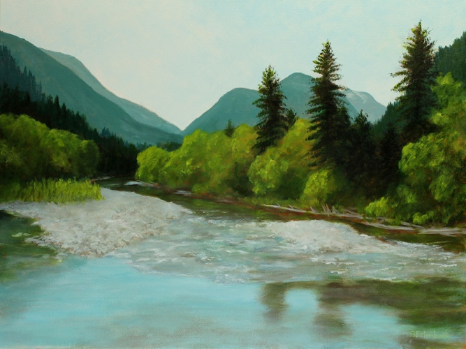 Morning On The Upper Seymour River | 18x24 acrylic on canvas