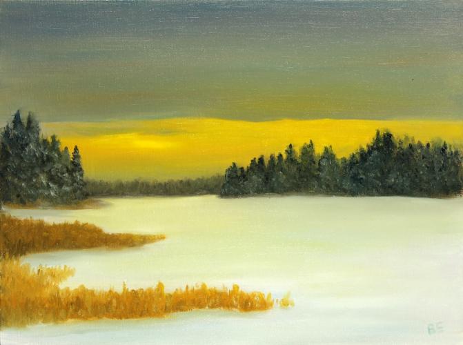 Winter Sunset Elk Island National Park