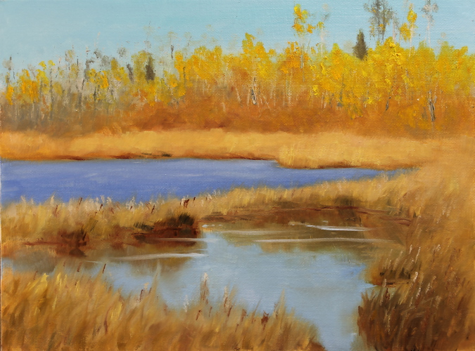 Fall Pond In Elk Island | 9x12 oil on canvas panel