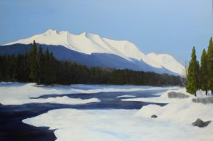 Hudson Bay Mountain Winter | 20x30 acrylic on canvas