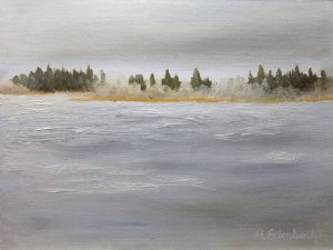 Ice on Astotin Lake | 9x12 oil on canvas-wood panel